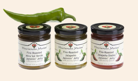 Jammin' Jellies: hot pepper jelly, including the original jalapeño jelly from Hacienda Maize
